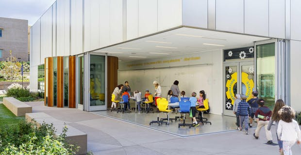 21st Century Schools Classroom with opened cornerless folding walls