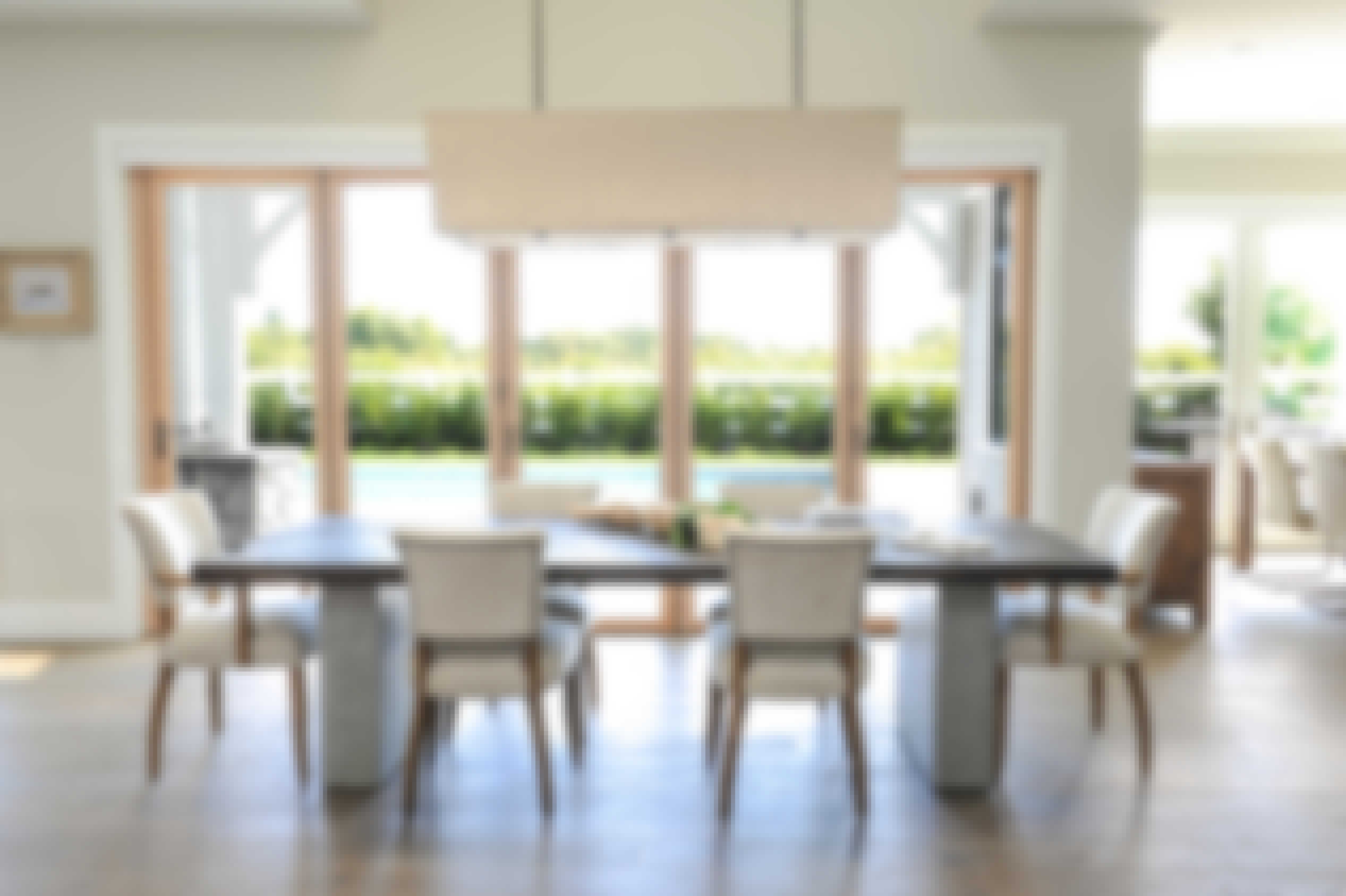 wood framed folding door to the outside