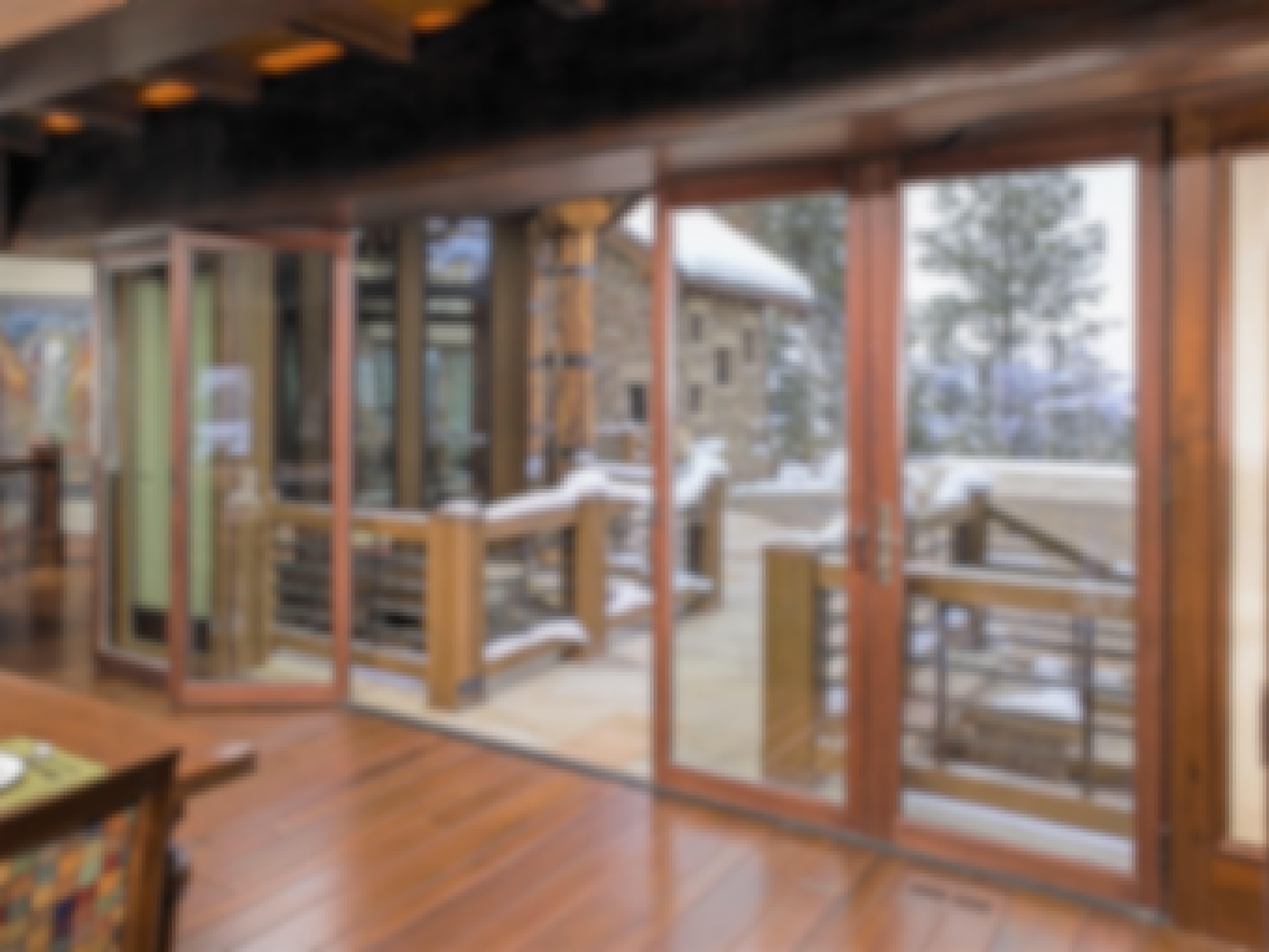 energy-efficient wood framed sliding glass wall