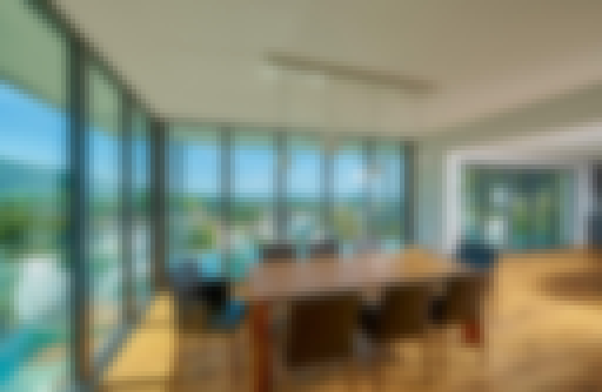 Nanawall NW Aluminum 840 with the slimmest frame providing unobstructed views in comtemporary home