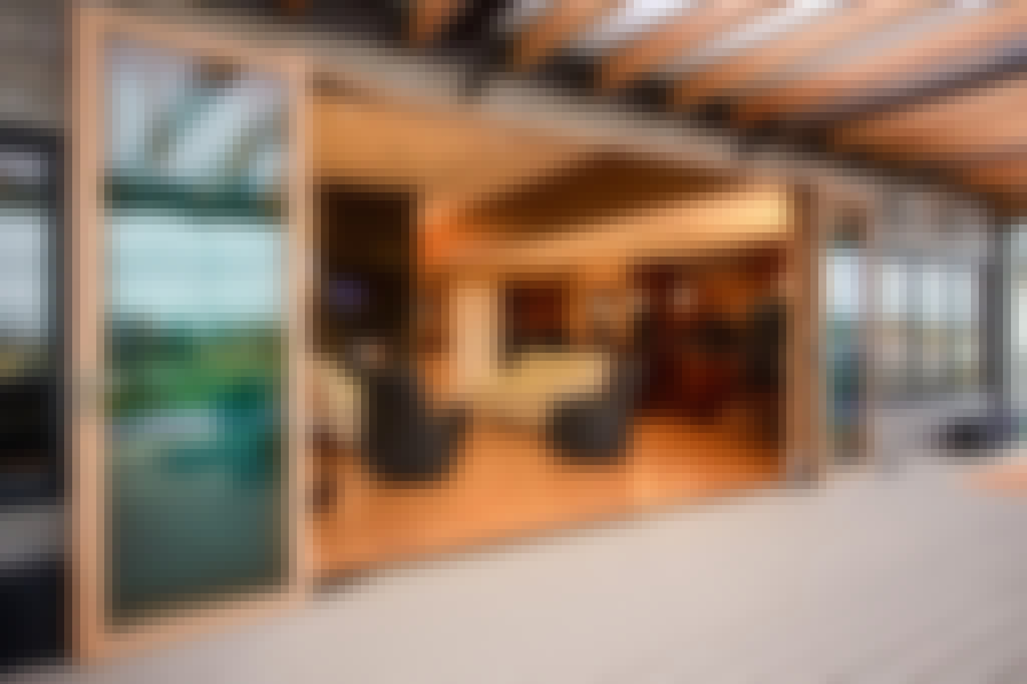 wood framed opening glass walls FoldFlat