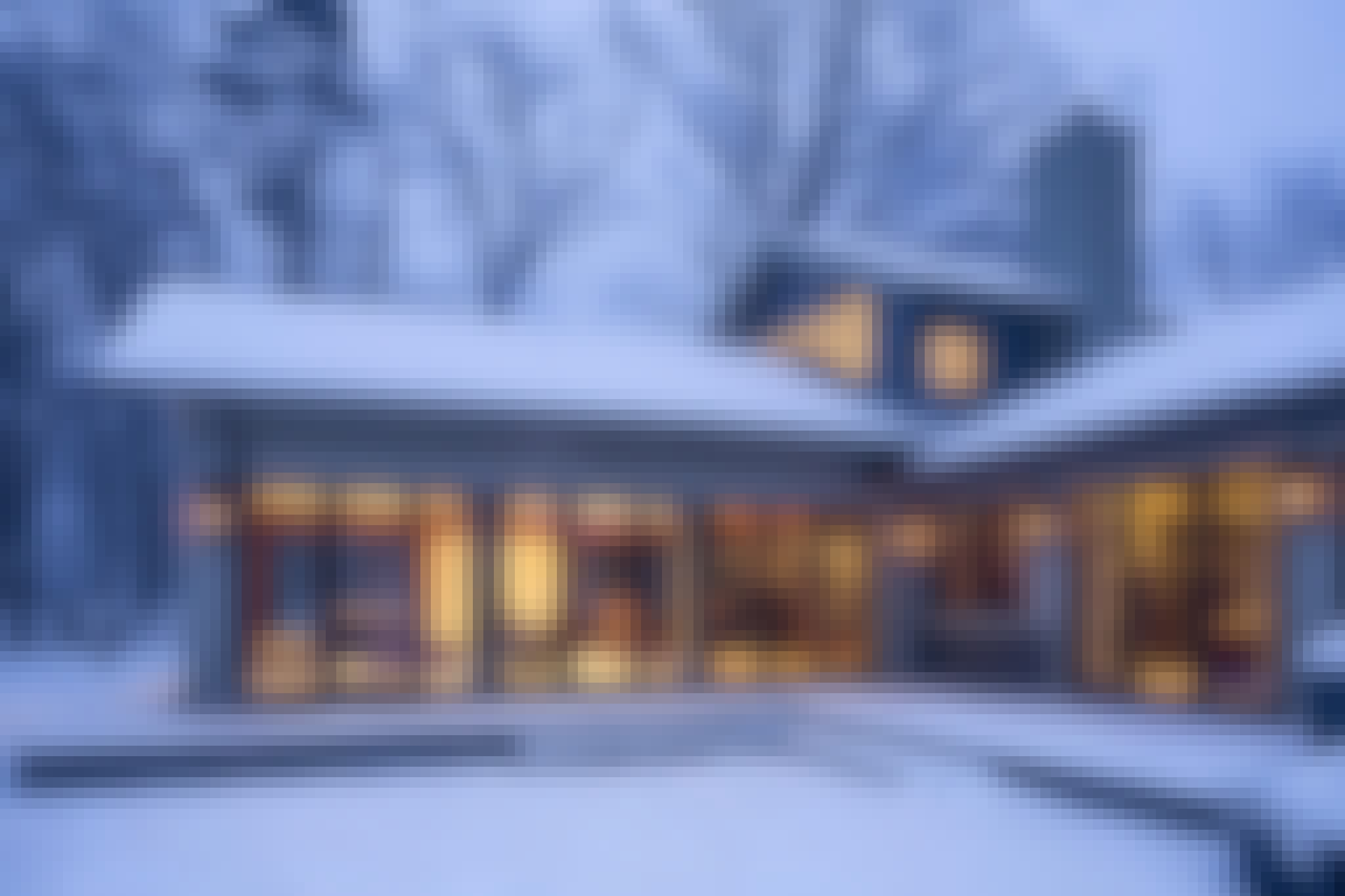 insulated glass walls in the snow