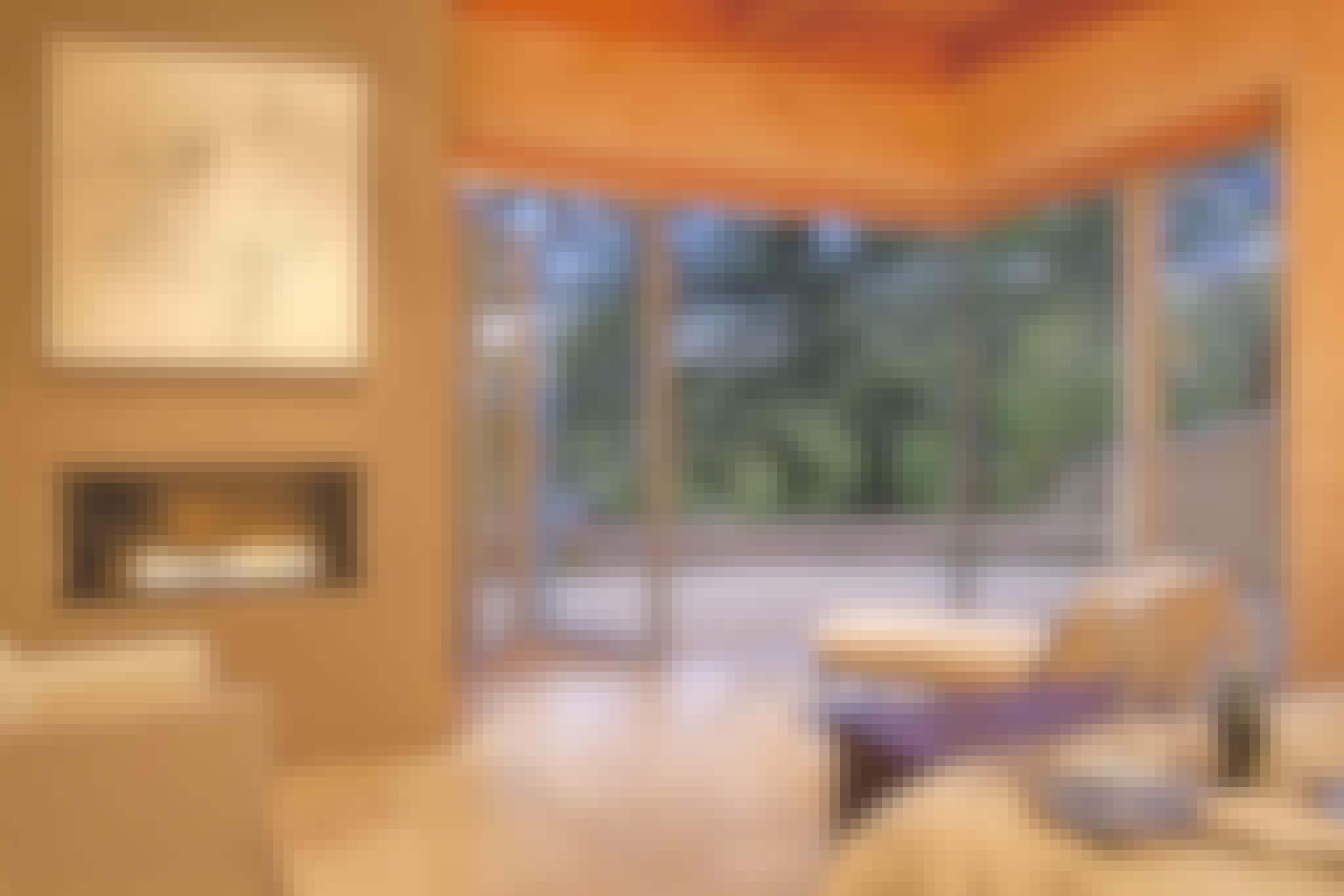 bedroom with open corner design with folding doors