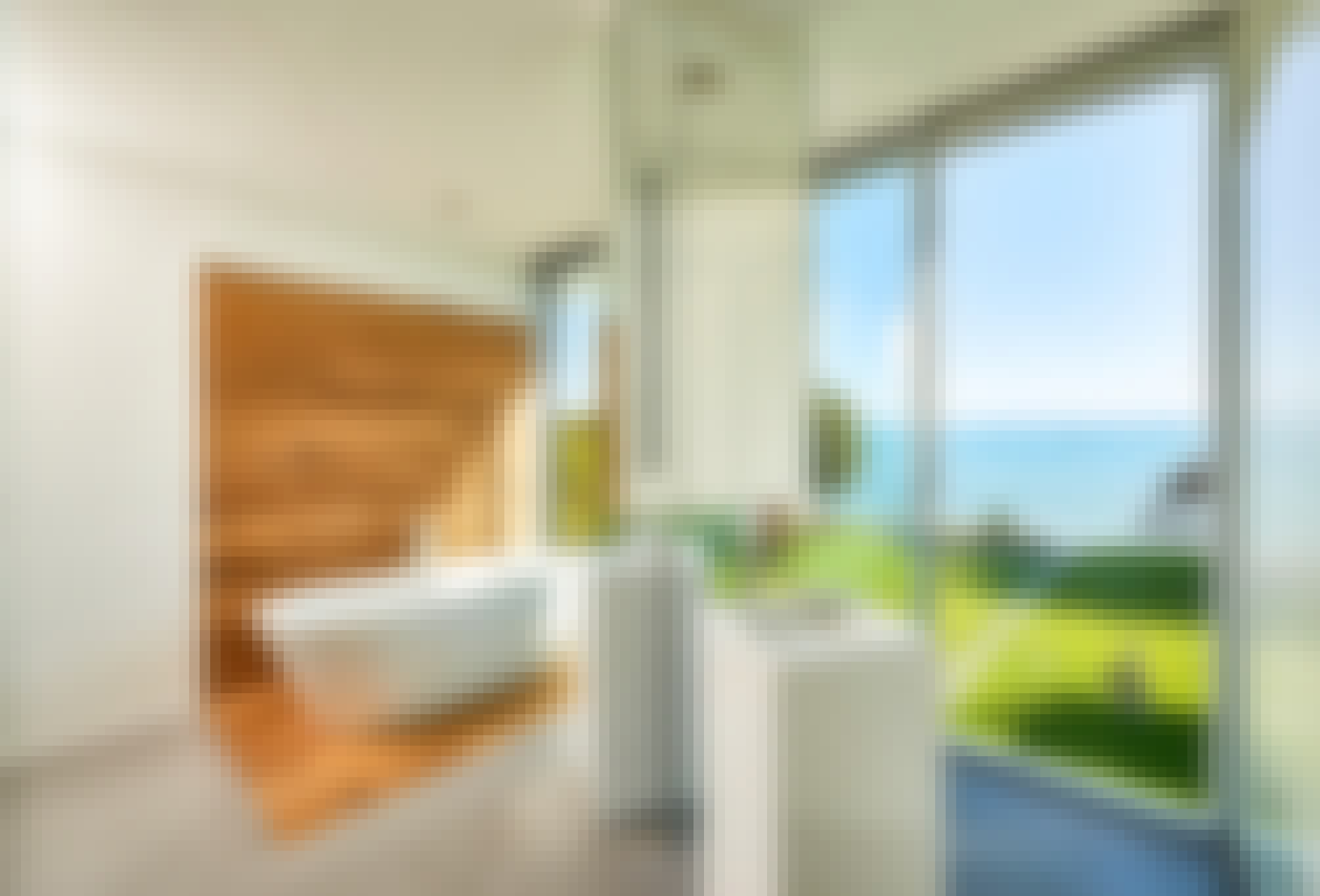 exterior moving glass walls create bathrooms with a view