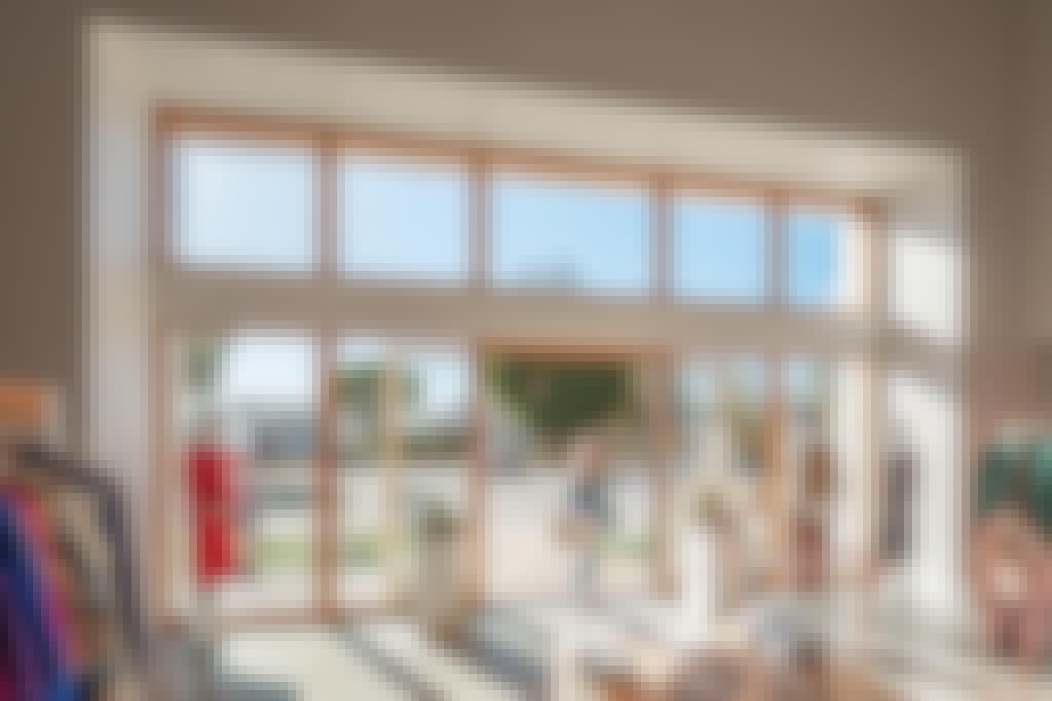 wood framed glass walls