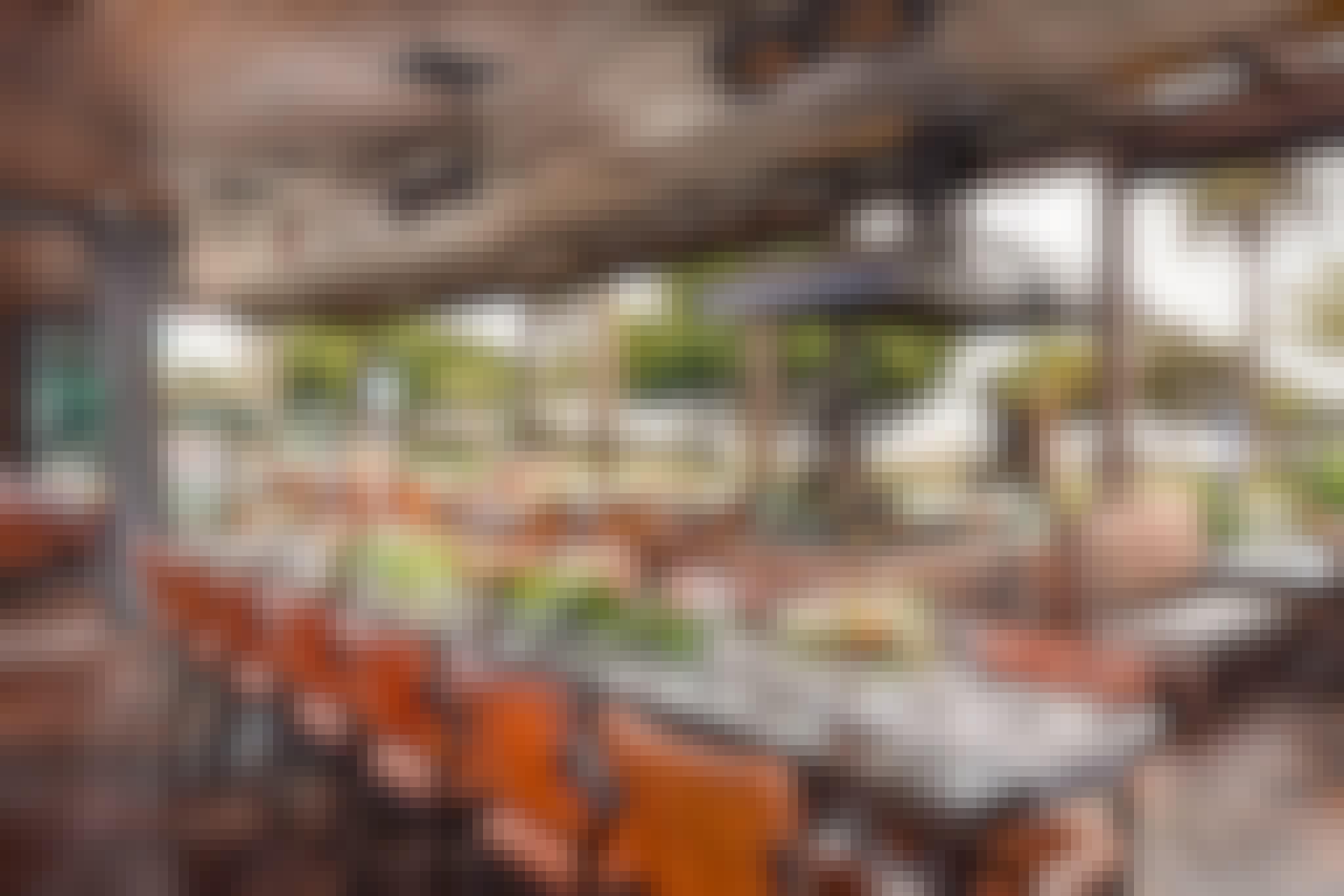 open sliding glass door system in indoor/outdoor restaurant