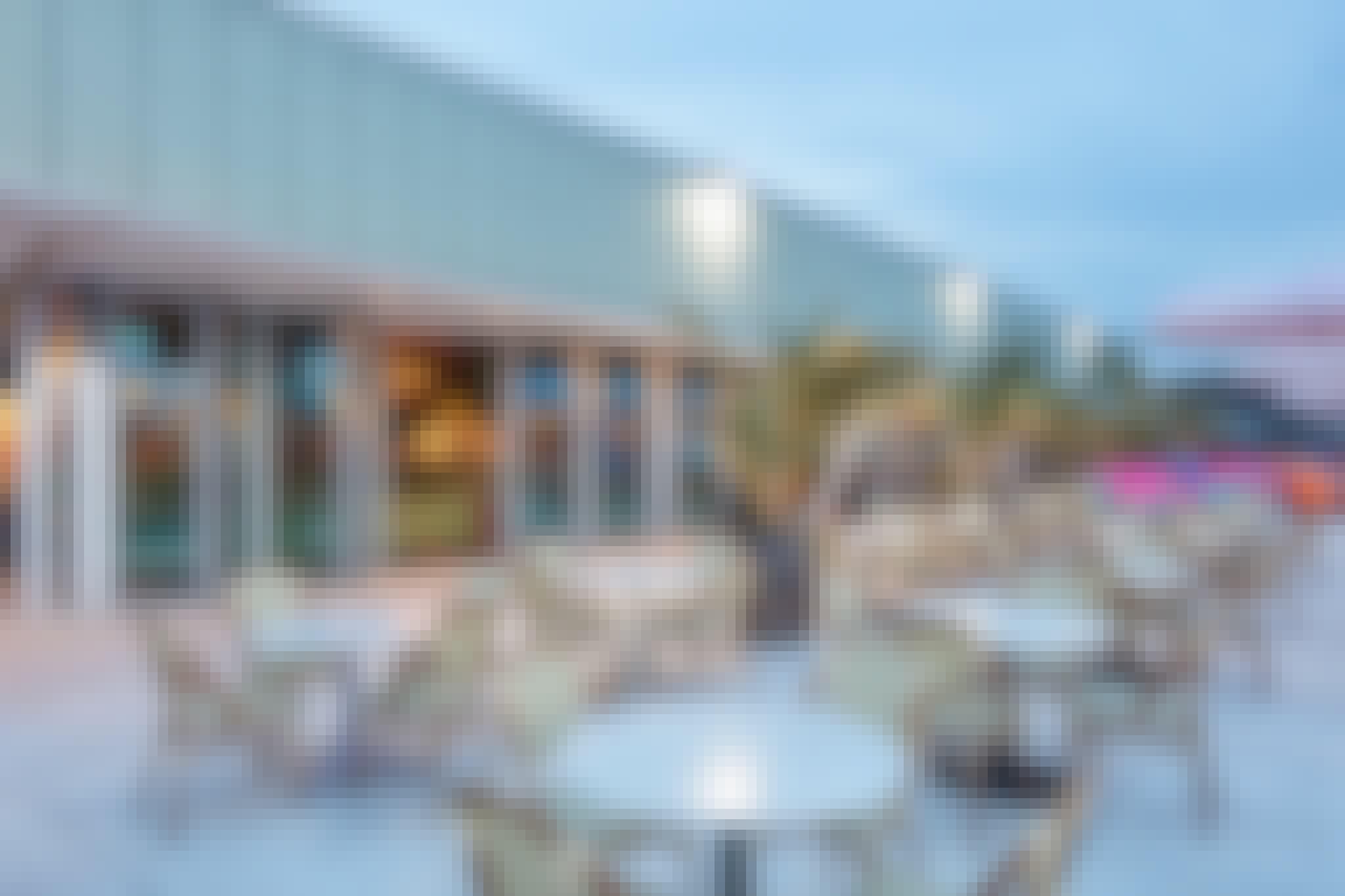commercial folding glass doors in rooftop restaurant