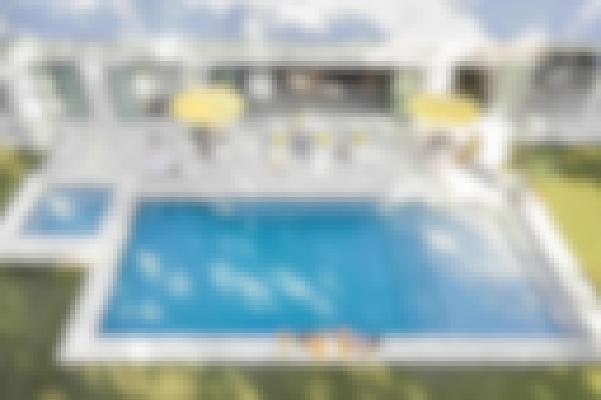 accordion glass doors in pool house design