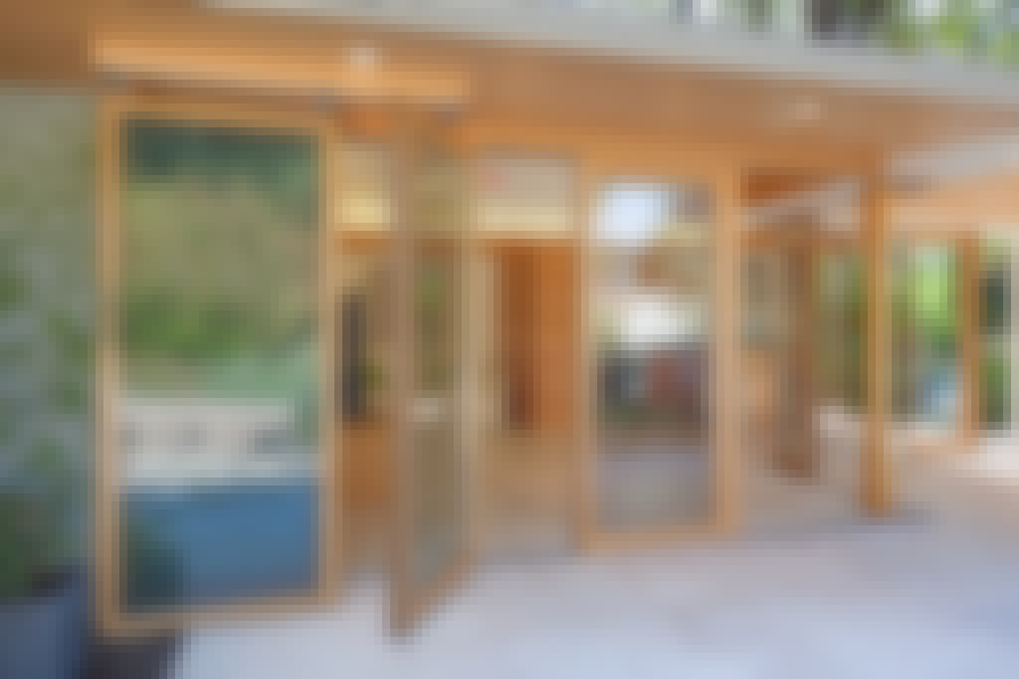 wood framed opening glass walls
