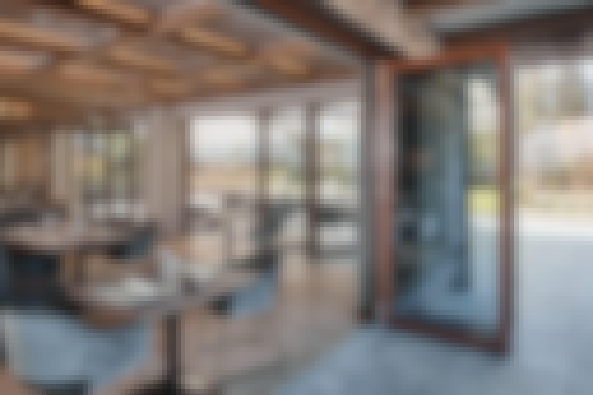 commercial wood framed folding glass walls