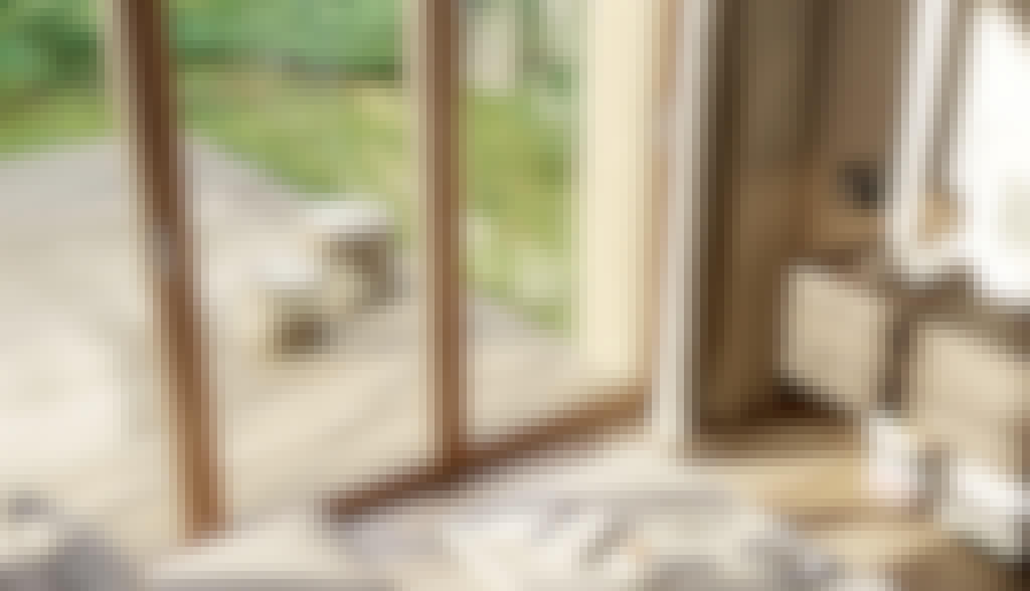 modern wood framed folding glass doors