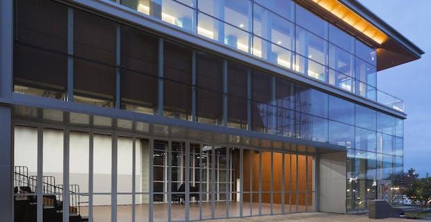 21st Century Schools - Santa Monica College exterior aluminum sliding glass walls