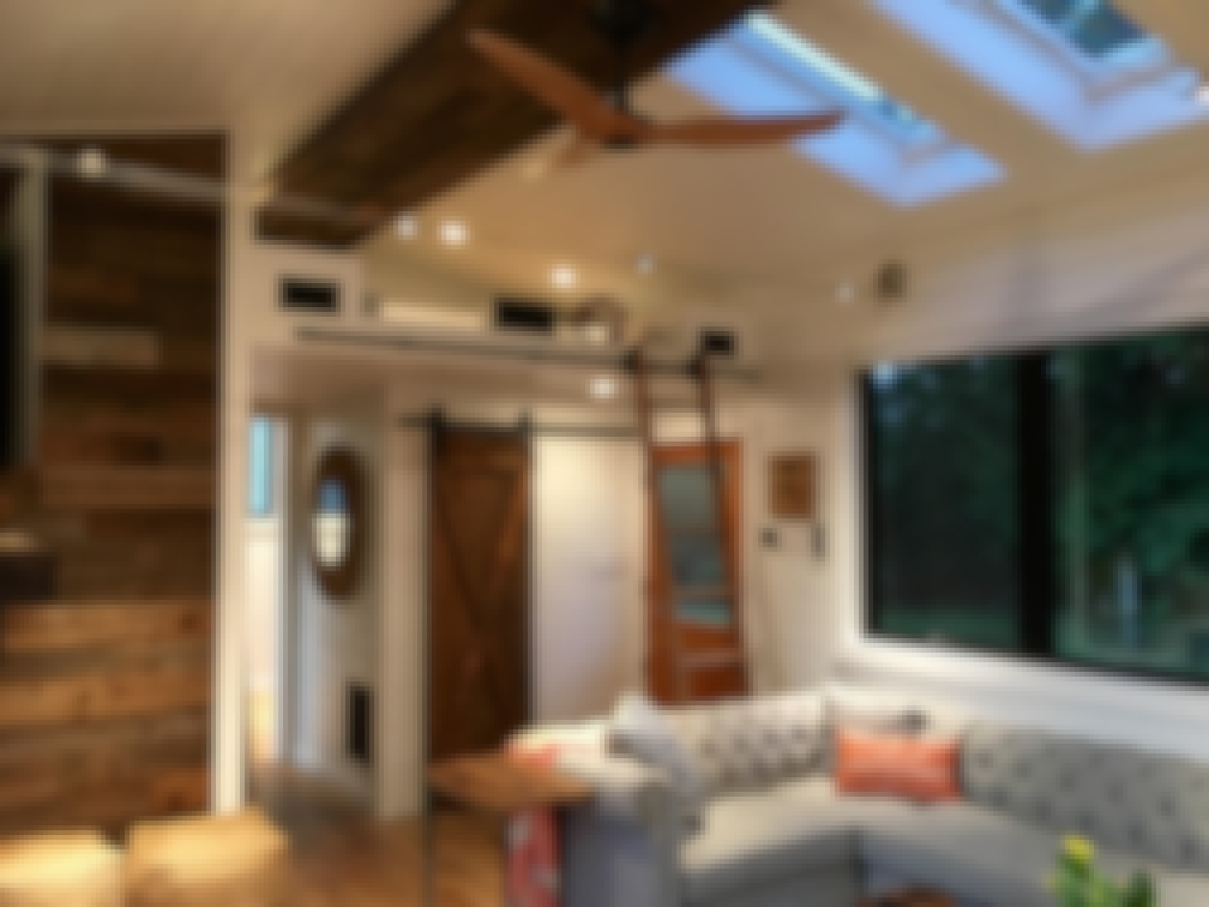 The living room inside Shawn and Shelly's tiny home in Maui