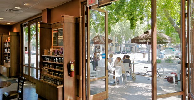 wood folding glass walls as the entrance doors at Peet's coffee