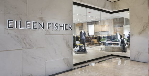 Eileen Fisher storefront with sliding glass doors