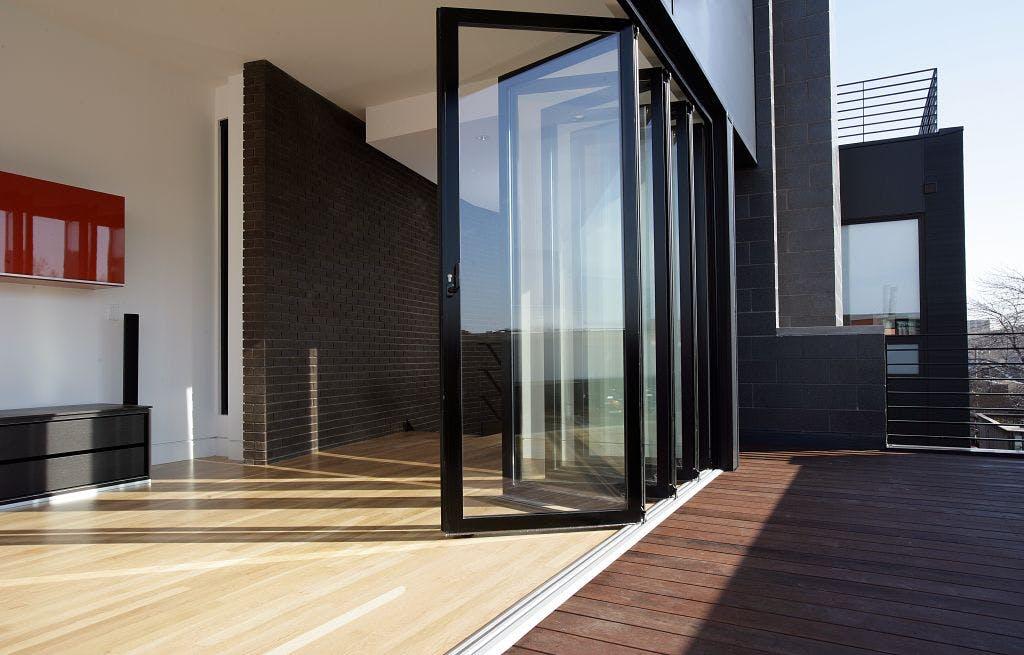 inswing aluminum framed folding glass walls