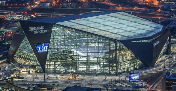 air view of the US Bank Stadium