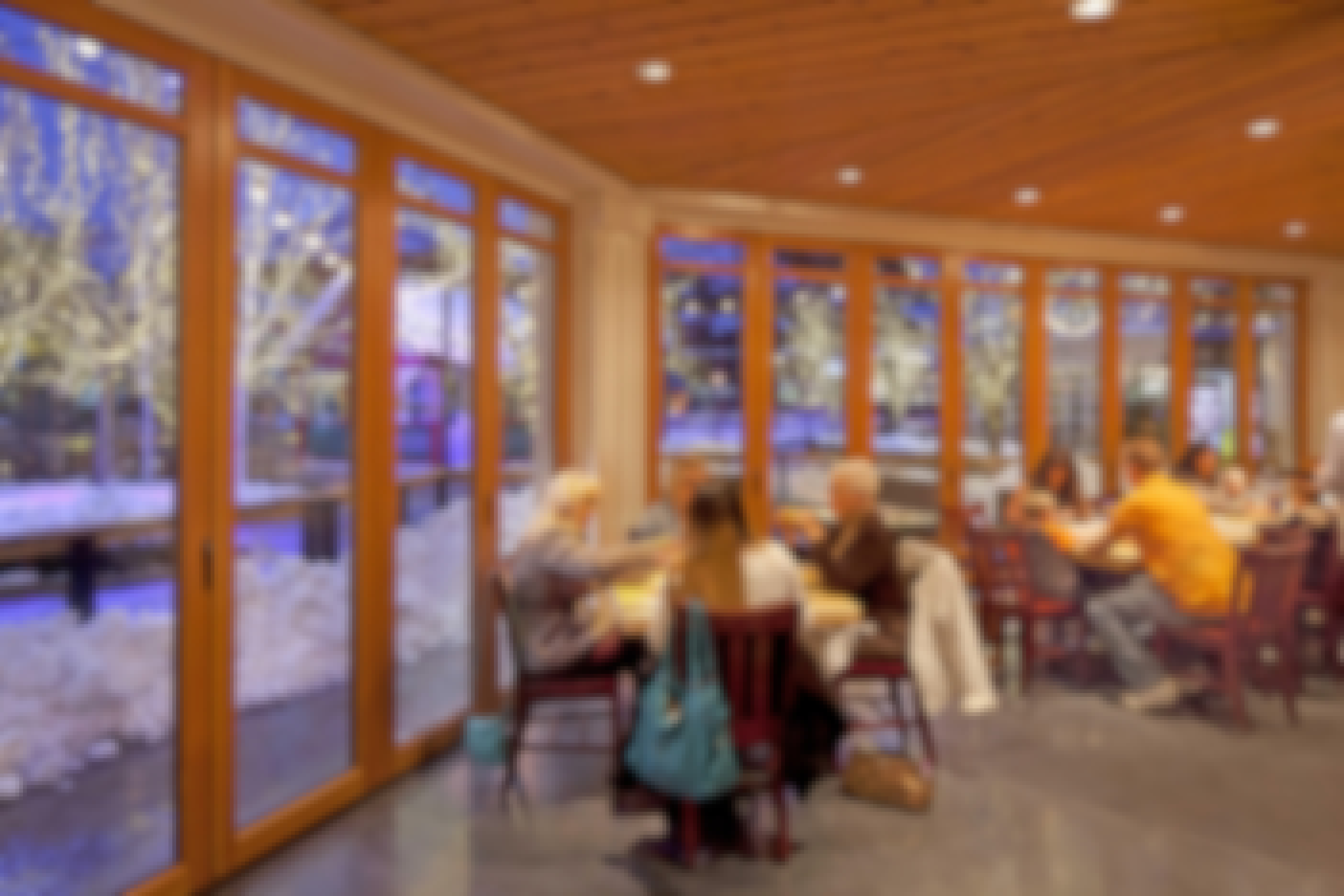 people-eating-in-restaurant-next-to-glass-with-snow-outside