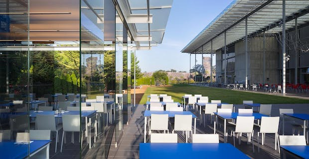 Cal Academy of Science cafe with frameless commercial patio door system-Restaurants Exterior