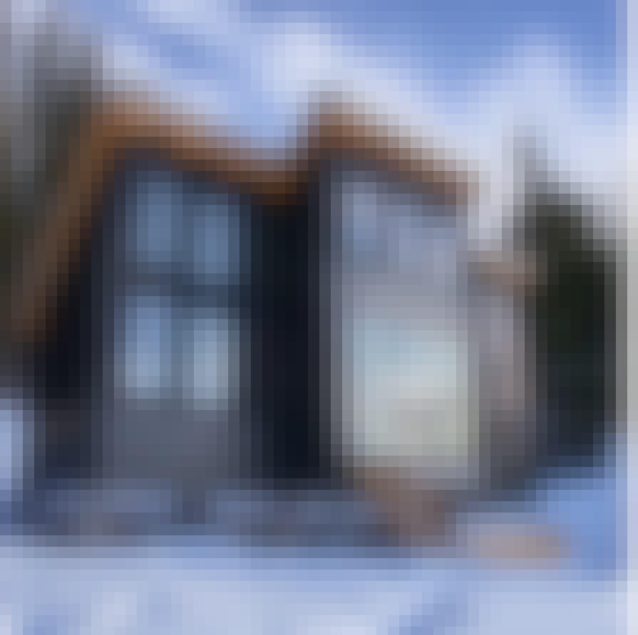 Tiny home in Colorado with  NanaWall three-panel SL60 folding glass wall