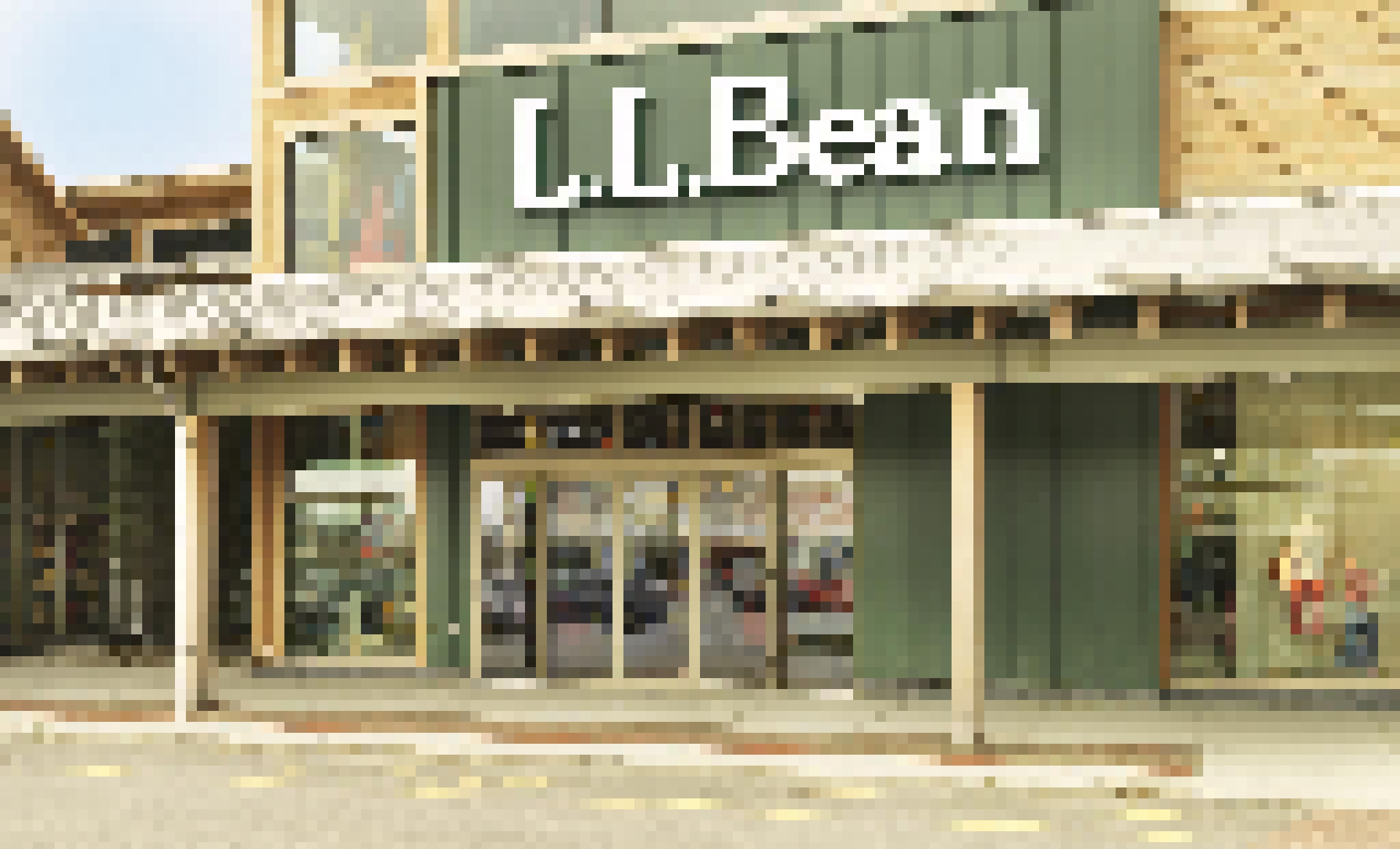 folding glass wall used as storefront for L.L.Bean