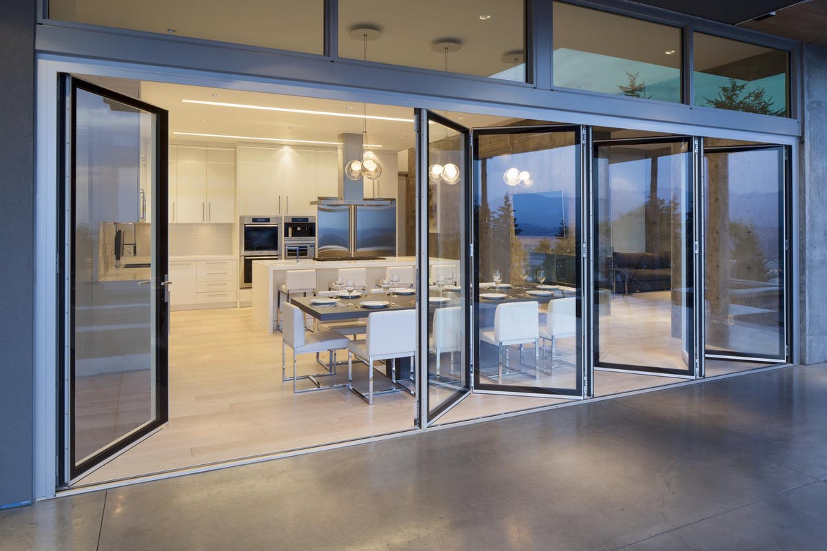 Aluminum Framed Folding Glass Walls SL82 Burnaby Residence BC