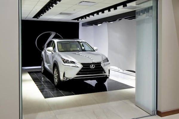 Lexus Showroom with interior moveable glass doors within an auto showroom