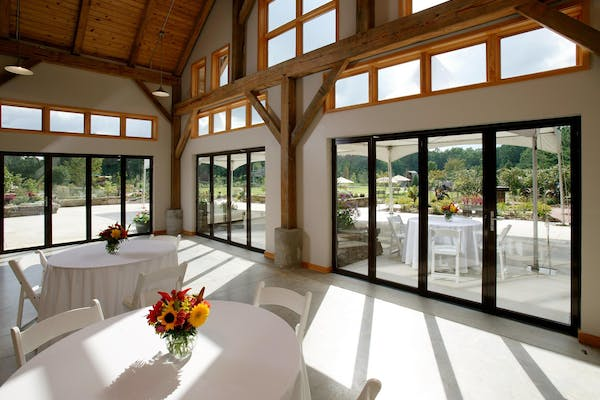 closed commercial folding doors in religious facility provide daylight and view