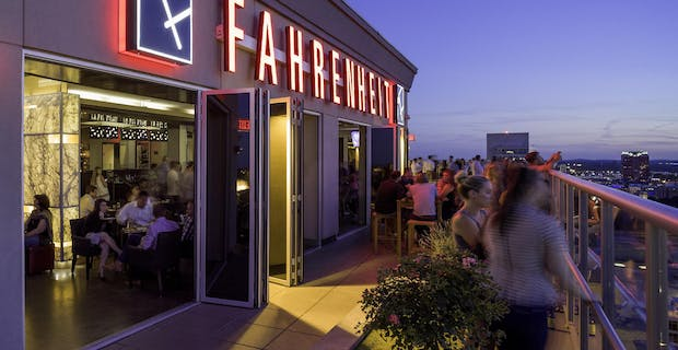 Fahrenheit rooftop bar and Restaurants Exterior with commercial patio door systems and view