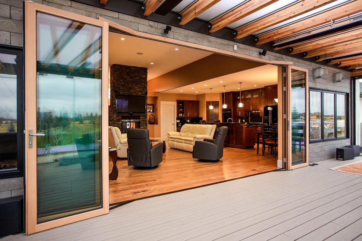 Wood Framed Folding Glass Walls