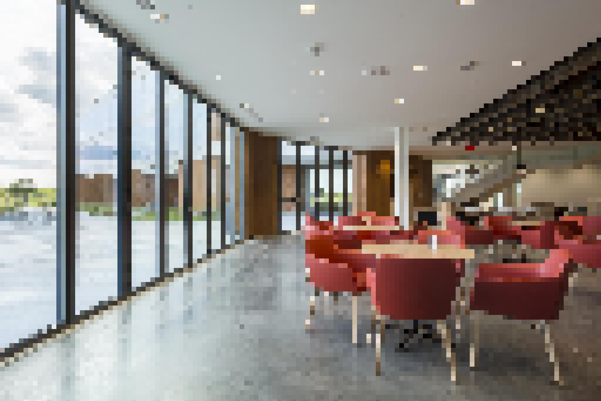 offices exterior- interior lunch room with large glass panels