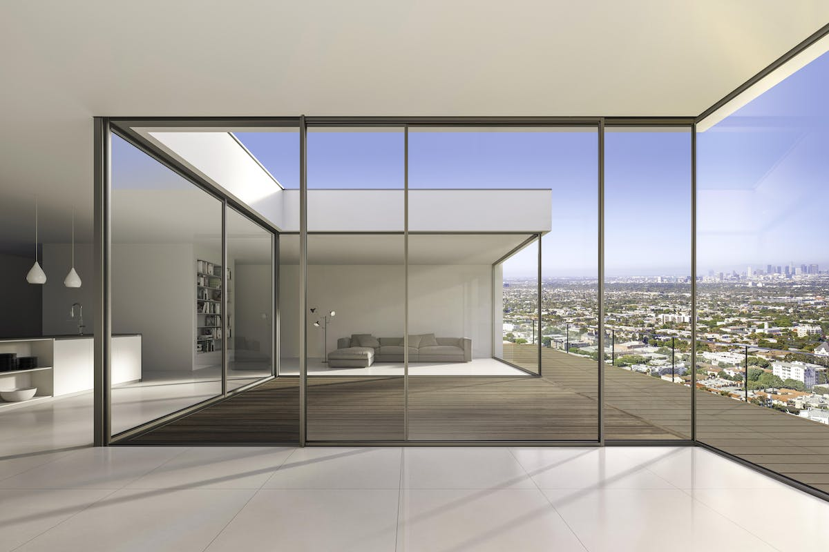 Minimal Framed Sliding Glass Walls