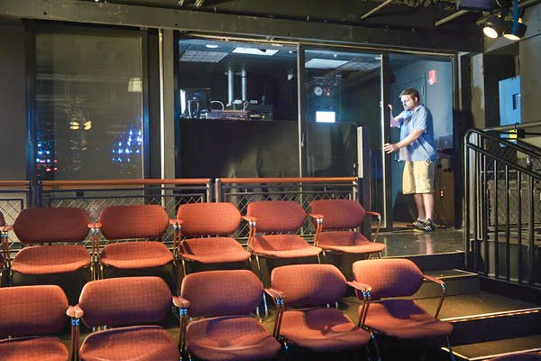 moveable interior glass doors in theater
