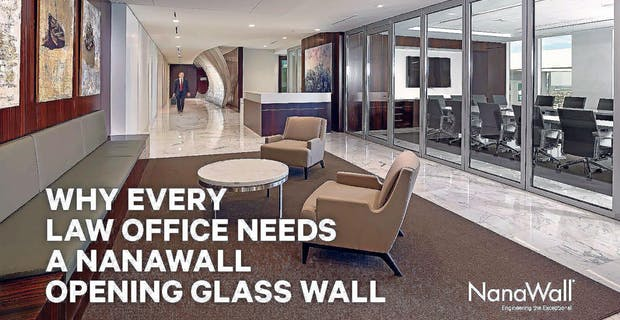 law office reception area with moveable interior glass walls for acoustical privacy, daylight and views