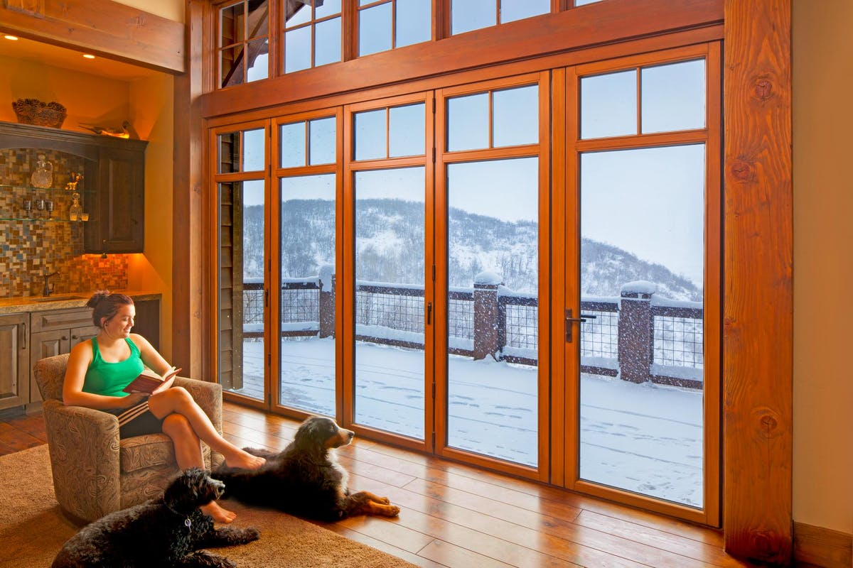 Wood Framed Aluminum Clad Folding Glass Walls-Whistler Residence BC