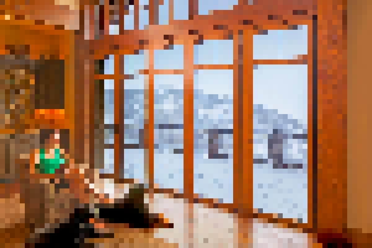 Wood Framed Aluminum Clad Folding Glass Walls-Whistler Residence BC