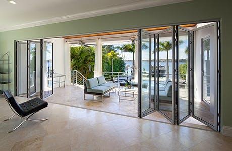 Inside view of folding patio doors