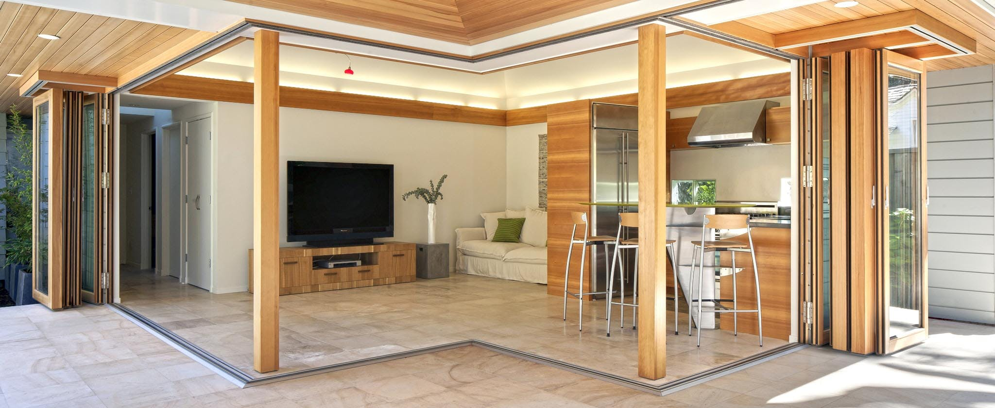 Wood Framed Sliding Glass Walls - Highlights